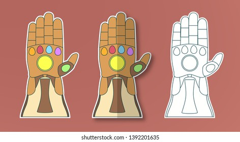 April 8, 2019: Glove of Thanos with 6 gems. Vector illustration in sticker paper cut style. Art craft for kid.