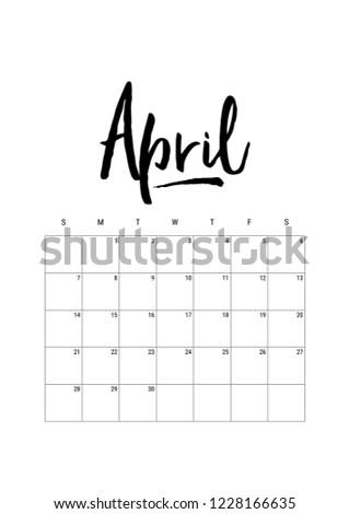 April Calendar Planner 2019 Week Starts Stock Vector Royalty Free