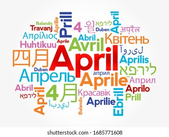 April in different languages of the world, word cloud concept background