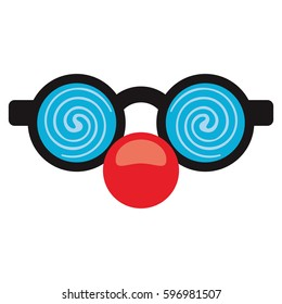 april fool clown glasses and red nose