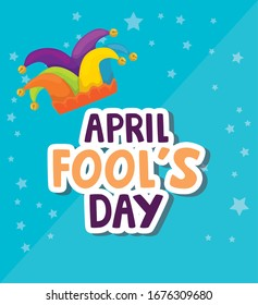 april fool day with hat jester and icons vector illustration design