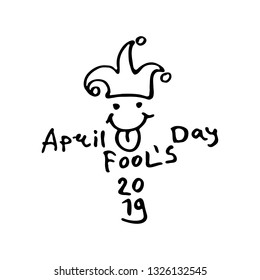 April Fools Day 2019. Cartoon style logo with a jester hat with cheerful face. Handwritten logo for fool's day. Vector template.