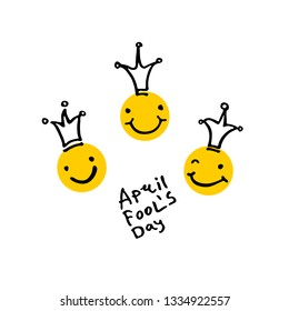 April Fools Day. 2019. Three laughing heads in crowns. Cartoon style. Handwritten logo for fool's day. Vector template.