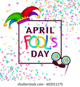 April Fool's Day background, square banner, paper text and confetti, isolated on white. Funny glasses and hat. Hand drawn elements, vector illustration.