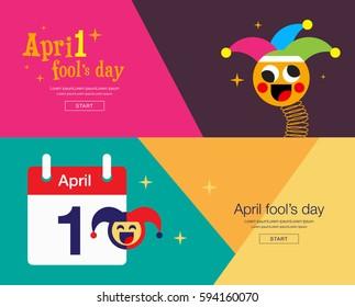 April fool's day, banner design, Colorful, flat design, vector illustration.
