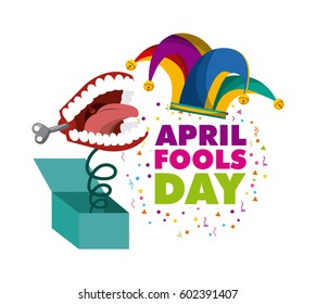april fools day card with jester hat icon over white background. colorful design. vector illustration