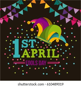 april fools day card with jester hat icon over black background. colorful desing. vector illustration