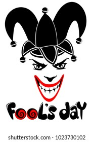 April Fools Day concept with inscription and jolly joker face wearing funny hat isolated vector illustration