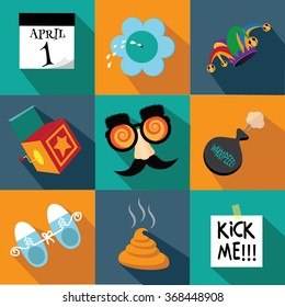 April Fools Day flat design icon set. EPS 10 vector illustration