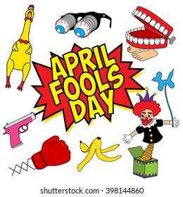 April Fools Day fun stuff set vector illustration
