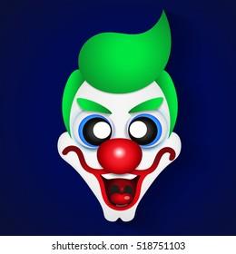 April fools day. Funny icon clown. Vector illustration