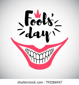 April Fool's Day greeting card. Typographic composition with creepy clown's smile and bared teeth illustration. Joker's grin and 1st April words.