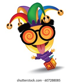 April Fools Day jester hat, silly glasses jack in the box design. EPS 10 vector.