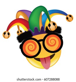 April Fools Day jester hat, silly glasses emoticon design. EPS 10 vector.