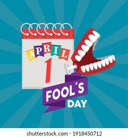 april fools day lettering with joke denture and calendar vector illustration design