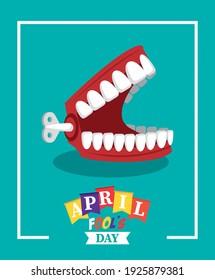 april fools day lettering with joke denture vector illustration design