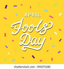 April Fools Day lettering typography on red background for greeting card, ad, promotion, poster, article, marketing, signage, email. Vector illustration.