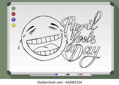 April Fools Day on whiteboard. Lettering. Hand drawn vector stock illustration
