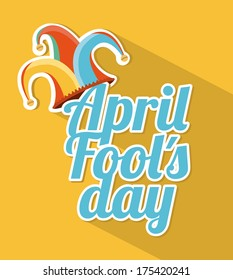 april fools day over yellow background vector illustration