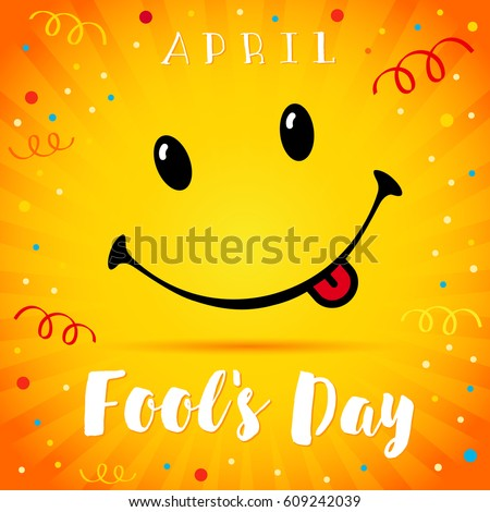 april fools day text and vector illustration of a smiling face 1 april fools day
