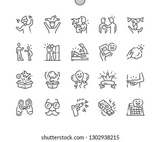 April Fools' Day Well-crafted Pixel Perfect Vector Thin Line Icons 30 2x Grid for Web Graphics and Apps. Simple Minimal Pictogram
