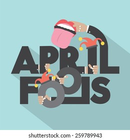 April Fools Typography Design Vector Illustration