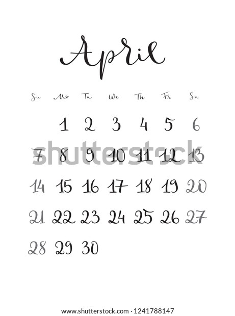 image relating to Stylish Planners and Organizers titled April Regular monthly Calendar 2019 Calendar year Handwritten Inventory Vector