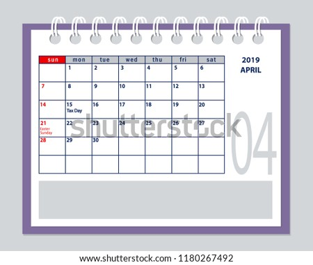 april page year 2019 of american calendar with marked tax day of usa isolated on