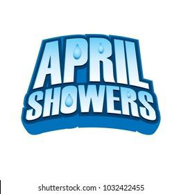 April Showers Blue Vector Headline Seasonal Spring Graphic