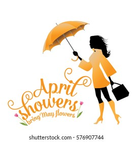 April showers bring May flowers design with fun swirly text and a woman in a raincoat and boots holding an umbrella. EPS 10 vector.
