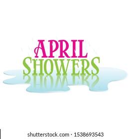 April Showers Headline Text Spring Season