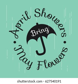 April Showers May Flowers Logo Vector Template