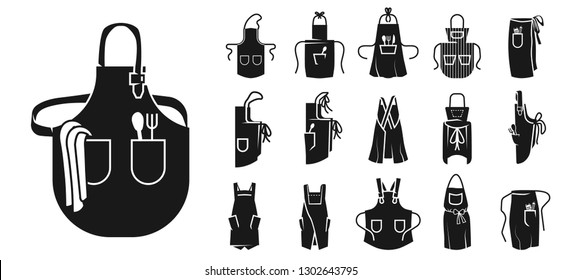 Apron icons set. Simple set of apron vector icons for web design on white background
