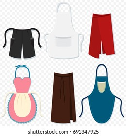 Aprons for man and woman, waiter, chef, kitchen, housewife, etc. Vector cartoon set flat icons isolated on transparent background.
