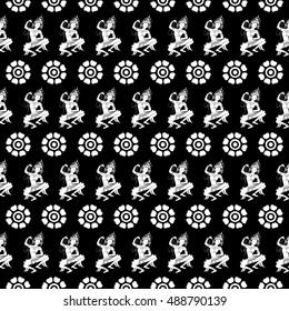 Apsara dancer and flowers  seamless pattern, on black background, vector illustration