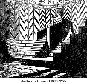 Apse of the Basilica with Bishops throne seats for the clergy In architecture also known as an Exedra regardless of the shape of the roof vintage line drawing or engraving illustration.