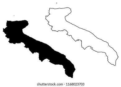 Apulia (Autonomous region of Italy) map vector illustration, scribble sketch Apulia map