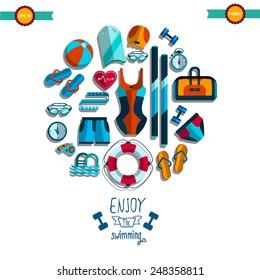 Aqua aerobics icon set. Sport collection in flat style.  Swimming pool set