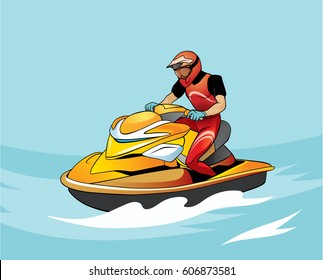 Aqua biker. Vector illustration