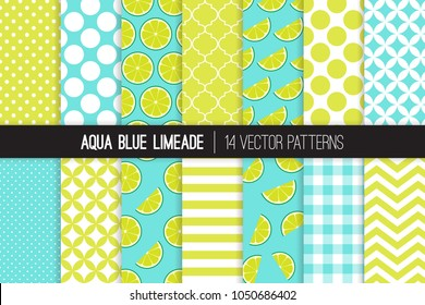 Aqua Blue Limeade Vector Patterns. Green Lime Halves and Slices, Chevron, Stripes, Polka Dots, Gingham and Quatrefoil. Limeade Stand Summer Party Decor. Mod Backgrounds. Pattern Tile Swatches Included