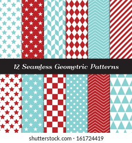 Aqua Blue and Red Geometric Seamless Patterns. Backgrounds in Diamond, Chevron, Polka Dot, Checkerboard, Stars, Triangles, Herringbone and Stripes Patterns. Pattern Swatches made with Global Colors.