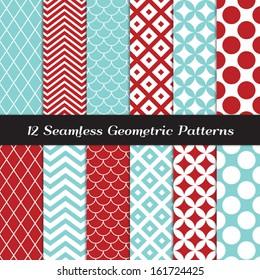 Aqua Blue And Red Geometric Seamless Patterns Retro Mod Backgrounds In Jumbo Polka Dot