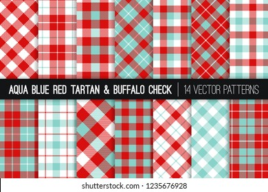 Aqua Blue and Red Tartan and Buffalo Check Plaid Vector Patterns. Christmas Backgrounds. Hipster Flannel Shirt Fabric Textures. Pattern Tile Swatches Included.