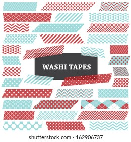 Aqua Blue and Red Washi Tape Strips. Semitransparent. Photo Frame Border, Blog. Clip Art, Scrapbook Embellishment. Global colors used.