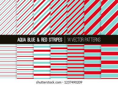 Aqua Blue, Red and White Diagonal and Horizontal Stripes Vector Patterns. Christmas Candy Cane Striped Backgrounds. Repeating Pattern Tile Swatches Included.