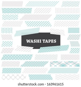 Aqua Blue, White and Silver Gray Washi Tape Strips with Torn Edges and Different Patterns. Semitransparent. Photo Frame Border, Web Blog Layout Element, Clip Art, Scrapbooking. Global colors used.