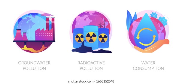 Aqua contamination. Natural resources wasting. Nuclear damage. Groundwater pollution, radioactive pollution, water consumption metaphors. Vector isolated concept metaphor illustrations