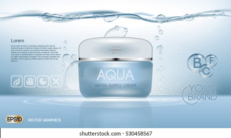 Aqua Cream Moisturizing cosmetic ads template. Hydrating facial lotion. Mockup 3D Realistic illustration. Sparkling water drops over blue background
