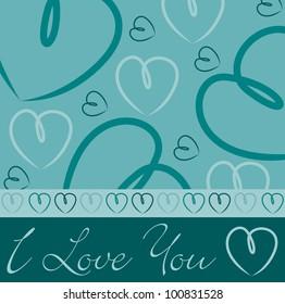 Aqua hand drawn heart card in vector format.