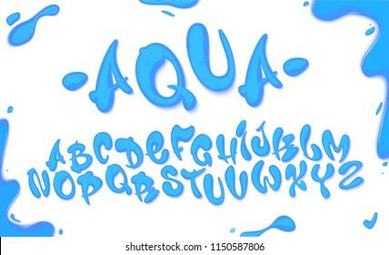 Aqua hand drawn typeset, water alphabet, vector illustration on transparent background.